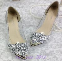 Womens Bling Rhinestone Wedding Pointy Metal Toe Mid Heels Pump Party Shoes Chic