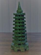 "Feng Shui Hand Carved Natural Green Jade 9 Level Pagoda H 7.0"""