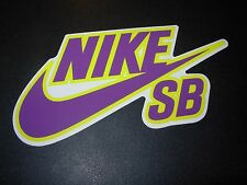 "NIKE 6.0 SB Skate Sticker Swoosh Purple Yellow 6"" skateboard helmet decal"
