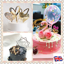 UK Happy Birthday Cake Topper Card Actylic Party Multi Design Decor Supplies