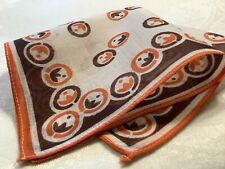 #5988🌟Vintage 20s TINY Art Deco Floral Geometric Brown ORANGE Handkerchief
