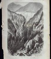 FRANCE MONCENISIO GORGE D' ESCILLON XILOGRAFIA LE MAGASIN PITTORESQUE 1868