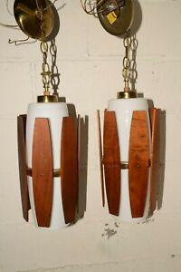 MATCHED PAIR Vintage 1960s DANISH MOD Hanging Pendant LIGHT FIXTURE Wood & Glass