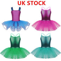 UK_Kids Girls Ballet Dress Mermaid Tutu Costume Sequins Leotard Dancewear Outfit