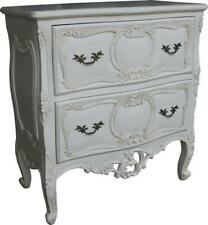 Antique White French Rococo Chest of 2 Drawers Solid Mahogany CHT035P NEW