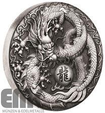 Tuvalu 2 Dollar 2017 - Drache Chinesische Fabelwesen 2 Oz Silber Antik-Finish