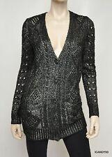 Nwt $125 Denim & Supply Ralph Lauren Open Weave Cable Knit Cardigan Top Black M