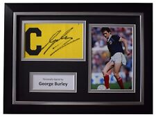 George Burley SIGNED FRAMED Captains Armband Autograph Photo Display Scotland