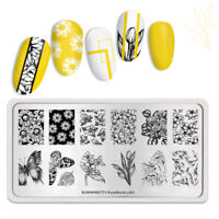 BORN PRETTY Rectangle Nagel Schablone Flower Butterfly Nail Art Design L001