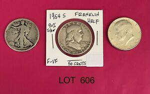 (3) US Silver, 50C Walking Liberty, Franklin, Kennedy-Lot 606 GVG-VF+