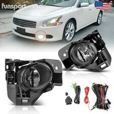 for 2009-2014 Nissan Maxima Clear Fog Light Front Bumper Lamp+Wiring+Switch PAIR