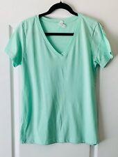 Light Green V-Neck T-Shirt Short-Sleeve Misses XtraLarge