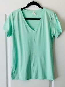Light Green V-Neck T-Shirt Short-Sleeve Teens Extra-Large
