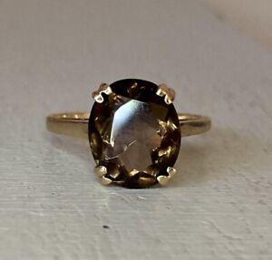 Vintage 9ct Gold Smoky Quartz Ring Size O1/2 - P