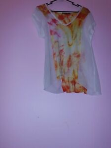 Reworked Upcycled Tie Dye Boho Flowy Top Small