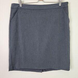 Eddie Bauer Women's Gray Stretch Pencil Skirt Size 12 Side Zip Up
