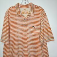 Tommy Bahama Relax XL Orange Shirt Mens Polo Pullover 100% Pima Cotton