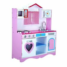 Girls Kids Large Wooden Play Kitchen DH1907 HT-DK005 White & Pink
