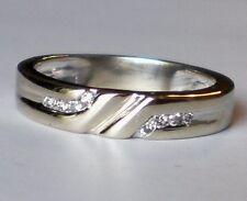Beautiful Unisex 14K white gold Diamond wedding RING BAND 14kt 4.2 grams