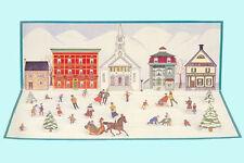 "Cardstock 19"" Wide Cutout Skating Village! - 22 Figures! Great Centerpiece"