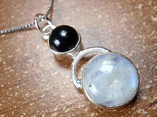 Black Onyx & Rainbow Moonstone Pendant 925 Sterling Silver Round Hoop New s206c