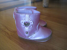 Infant Baby Toddler girl SHINY METALLIC Pink crib shoes boots NWT 9m 12m