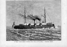 Stampa antica NAVE DA GUERRA ETNA in navigazione 1885 Old print