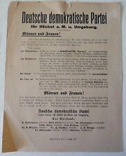 RARE RARITÄT TRACT FLUGBLATT WEIMAR REPUBLIK DDP 1919 WAHLEN DEUTSCHLAND