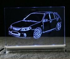 Mazda 323 GTR comme autogravur sur DEL. enseigne lumineuse