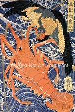 Reproducción de langosta & Aves japonés bloques de madera cartel impresión pájaro grande cangrejo de río