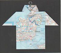 Origami Map Shirt Ireland, Londonderry, Dublin, Belfast, Limerick, Cork, Cavan