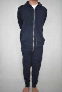 Mens Zip Hoody Full Zip jogging suit Tracksuit Gym Wear Relax Navy Blue