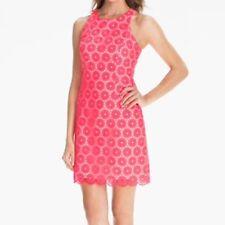 Lilly Pulitzer Pearl Embellished Lace Shift Dress Sleeveless Pink Daisy Womens 0