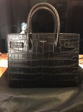 GENUINE CLASSIC BABY SAC DE JOUR BAG IN BLACK CROCODILE EMBOSSED LEATHER (RARE)