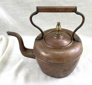 Antique Heavy Solid Copper Teapot/Kettle with Copper S Shaped Handle - England?