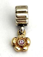 Authentic Pandora Sterling Silver & 14K Gold Dangle Flower Charm  790372PSA New