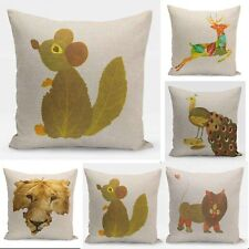 Leaf Pattern Throw Pillow Case Cotton Linen Square animal Sofa Cushion Cover