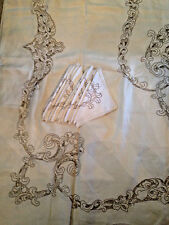 TABLECLOTH 12 Napkins Biege LINEN Embroidered Cutwork Vtg 64x106 Banquet EXCEL!