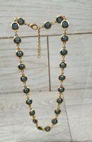 Vintage 1980s Blue Glass Crystal Jewel Crystal Open Back Bezel Necklace.
