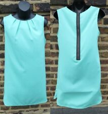 TOPSHOP Nuevo Con Etiquetas Verde Azulado Bata Verde Agua Vestido UK 10/USA 6 A-Line Hippy Shift 60s Zip