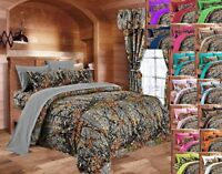CAMO KING SIZE GRAY 7 PC COMFORTER REVERSIBLE WITH SHEETS PILLOWCASES WOODS