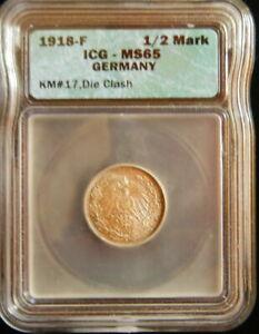 1918-F Germany Silver 1/2 Mark KM 17 -DIE CLASH! -ICG MS 65 GEM BU!-d3377ttnc