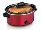 Hamilton Beach Kitchen, 6 Quart Red Slow Cooker, Crock Pot Healthy Home Cookin photo