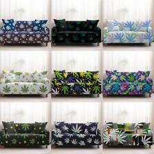 1-4 Seaters Sofa Covers Leaf Plant Stretch Furniture Protection Decor Polyester