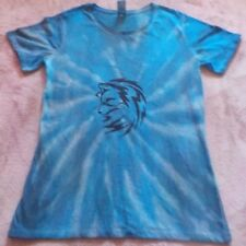 """Women's cotton/poly T-shirt """"blue spiral with print"""" Tie dye """" size 10, new"""
