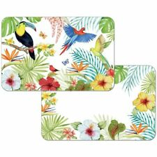4 Reversible Washable Plastic Placemats, Treasures of The Tropics