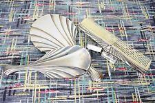 Vtg 30s Deco Style ~ 80s Silver Plate Vanity / Dresser Set ~ Brush Comb & Mirror