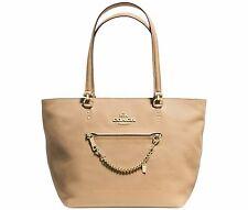 NWT Coach 34817 Nude Crossgrain Genuine Leather Town Car Chain Zip Tote Handbag