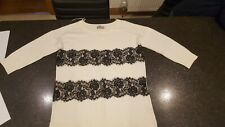 Evolution By Cyrus Ladies Top Jumper 12/14 Cream Black Lace Medium long length