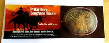 VINTAGE MARLBORO SOLID BRASS BELT BUCKLE TEXAS STAR AND LONGHORN STEER M.I.P.